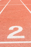 Running track number two. In front of tracks Stock Image