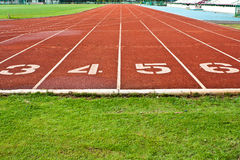 Running Track With Numbered Lanes Stock Photo
