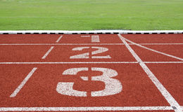 Running track numbers one two three Stock Photo