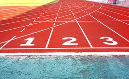 Running track numbers one two three Stock Images