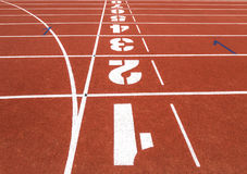 Running track with numbers. Royalty Free Stock Images