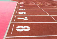 Running track with numbers. Stock Images