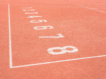 Running track numbers in stadium Royalty Free Stock Image