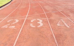 Running track with numbers Royalty Free Stock Images