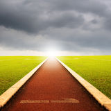 Running track with one lanes with rain cloud Stock Image