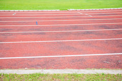 Running track in outdoor stadium Royalty Free Stock Images