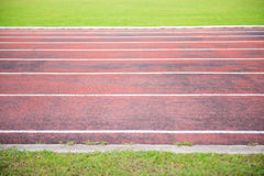 Running track in outdoor stadium Royalty Free Stock Image