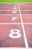 Running track in outdoor stadium Stock Images