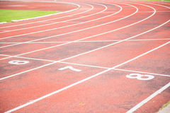 Running track in outdoor stadium Royalty Free Stock Photography