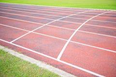 Running track in outdoor stadium Stock Photos