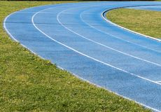 Running track outdoor in a sunny day royalty free stock photography