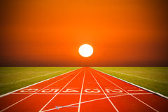Running track over sunset or sunrise time Stock Photography