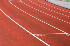 Running track. Red oval running track outside Stock Image