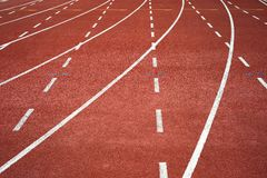 Running track. Red running track on the stadium Stock Photography