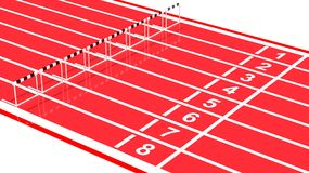 Running track. Row of black and white hurdles on running track Stock Photography