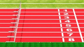 Running track. Row of hurdles on running track top side view Stock Photo