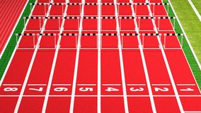 Running track. Rows of black and white hurdles on running track Royalty Free Stock Photos