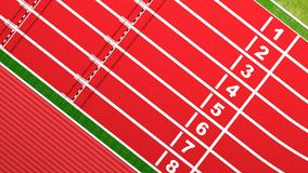 Running track. Rows of hurdles on running track top view Stock Photo