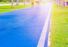 Running track in runner rubber cover blue public park. for jogging exercise health. Select focus with shallow depth of field royalty free stock images