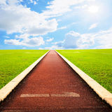 Running track  with sky cloud Royalty Free Stock Images