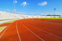 Running track with sky cloud Royalty Free Stock Photography