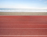 Running track with sky sea beach Stock Photography