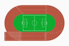 Running track and soccer or football field, top view of sport stadium. Vector. Running track and soccer or football field, top view of sport stadium. Vector Stock Photography