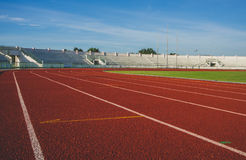 Running track in sport and athletics stadium. Running track in the morning with no people royalty free stock images