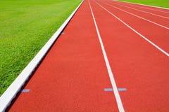 Running track in sport complex. Red Running track in sport complex stock image