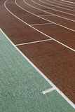 Running track, sports. Detail of a curve Stock Image