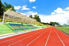 Running track in sports ground Stock Photo