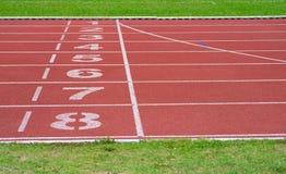 Running track of a sports. Stadium Stock Image