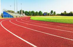 Running track in a sports stadium Royalty Free Stock Photo