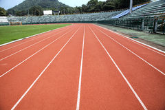 Running track in stadium Royalty Free Stock Image