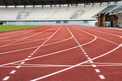 Running track in stadium Stock Images