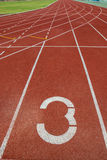 Running track in stadium. Royalty Free Stock Photography
