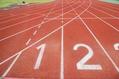 Running track in stadium. Stock Image