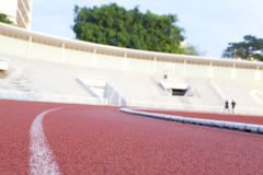 Running track in a stadium Stock Photos