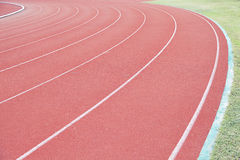 Running track in a stadium Royalty Free Stock Image