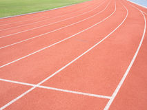 Running track in stadium. Curve line royalty free stock photography
