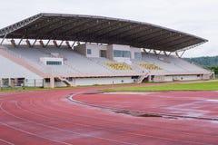 Running track and stadium field Royalty Free Stock Image