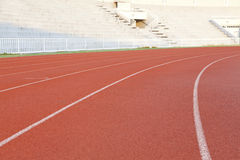 Running track in a stadium Stock Photo