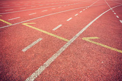 Running track in stadium Stock Photography