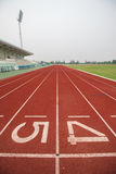 Running track in stadium. Royalty Free Stock Images