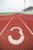 Running track in stadium. Stock Photo