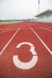 Running track in stadium. Stock Photo