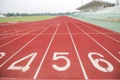 Running track in stadium. Royalty Free Stock Photo
