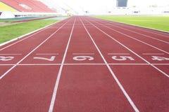 Running track in stadium Stock Images