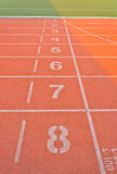Running track starting lane Stock Photos
