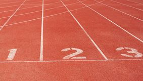 Running track starting line Stock Photo